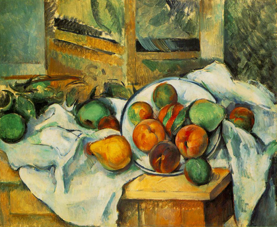 Table, Napkin, and Fruit (Un coin de table) 1895-1900 ; Oil on canvas, 47 x 56 cm; The Barnes Foundation, Merion, Pennsylvania