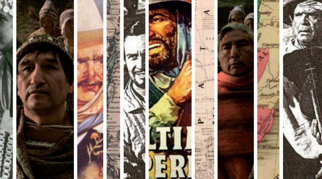 """Ilustración de tapa de """"Historia, pueblos originarios y frontera en el cine nacional"""""""