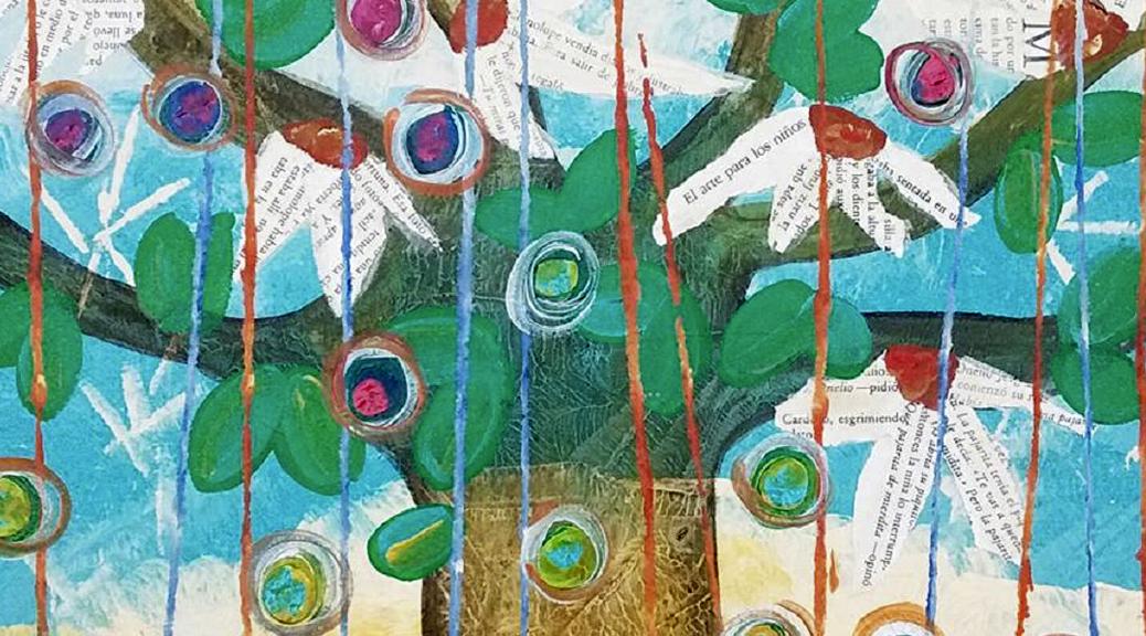 Árbol con pétalos literarios